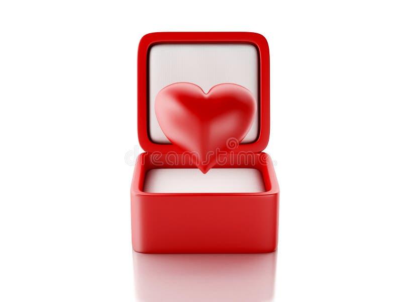 Czerwoni serca w prezenta pudełku pocałunek miłości człowieka koncepcja kobieta ilustracja 3 d ilustracji
