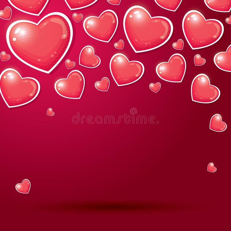 Czerwoni serca z Trykotową wzoru i kopii przestrzenią ilustracja wektor