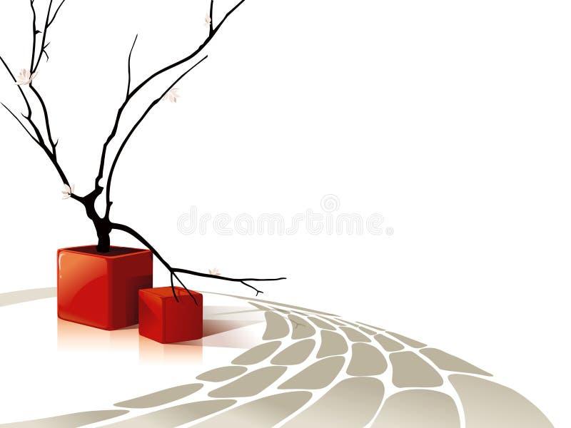 czerwoni składów abstrakcjonistyczni sześciany ilustracji
