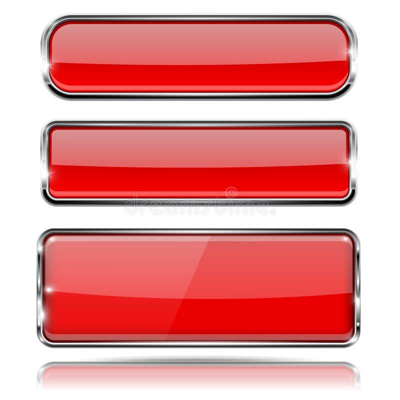 Czerwoni szkło guziki z metal ramą 3d ikony ustawiać ilustracji