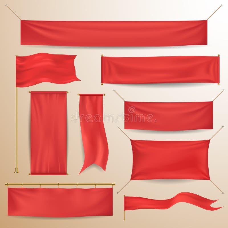 Czerwoni tekstylni sztandary i flaga ilustracji