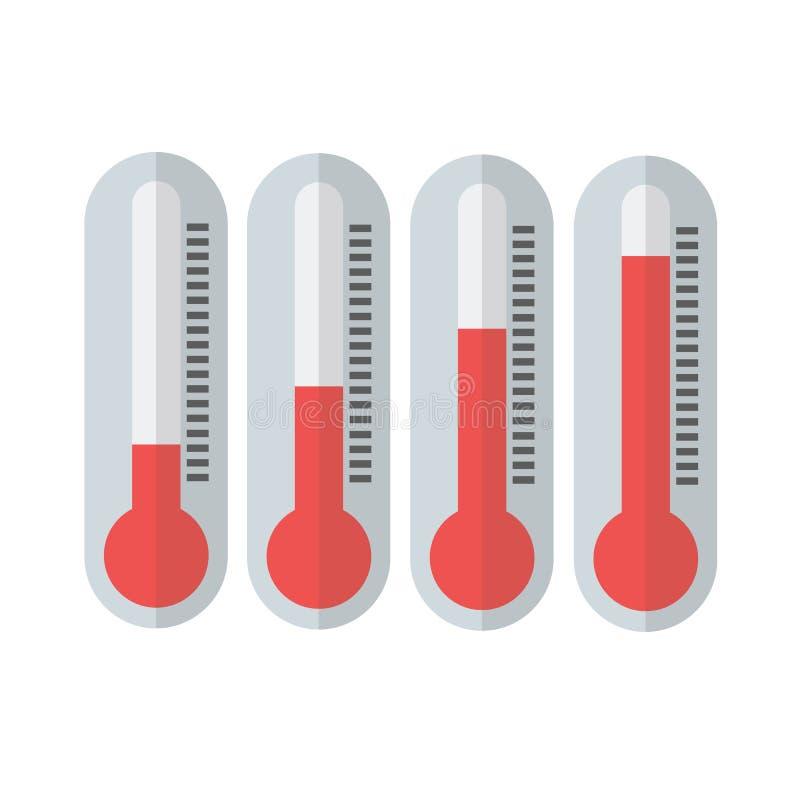 Czerwoni termometry z różnymi poziomami ilustracją 01 ilustracja wektor