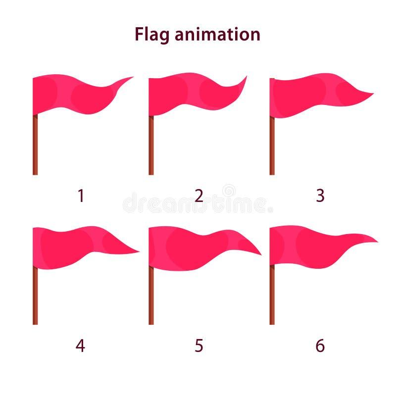 Czerwoni trójboka kształta flaga falowania animaci sprites royalty ilustracja