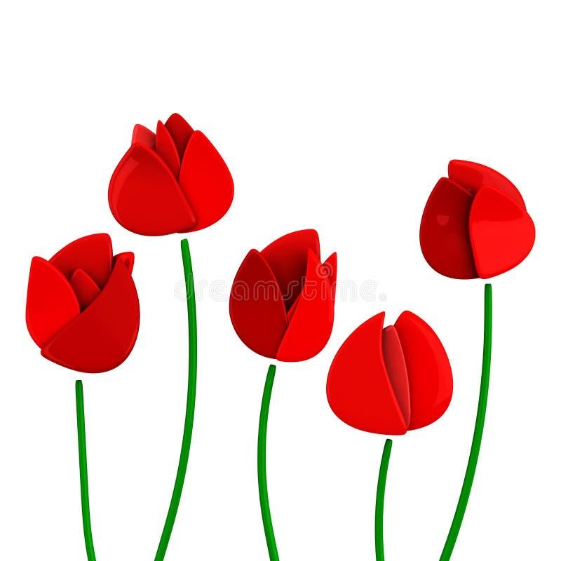 Czerwoni tulipany, 3d zdjęcia stock