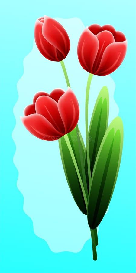 Czerwoni tulipany Międzynarodowy Szczęśliwy matka dzień z wiązką wiosna kwiaty kobieta dzień kolor tła wakacje czerwonego żółty p royalty ilustracja