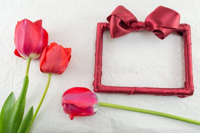 Czerwoni tulipany na jedwabniczej tkaninie zdjęcie royalty free