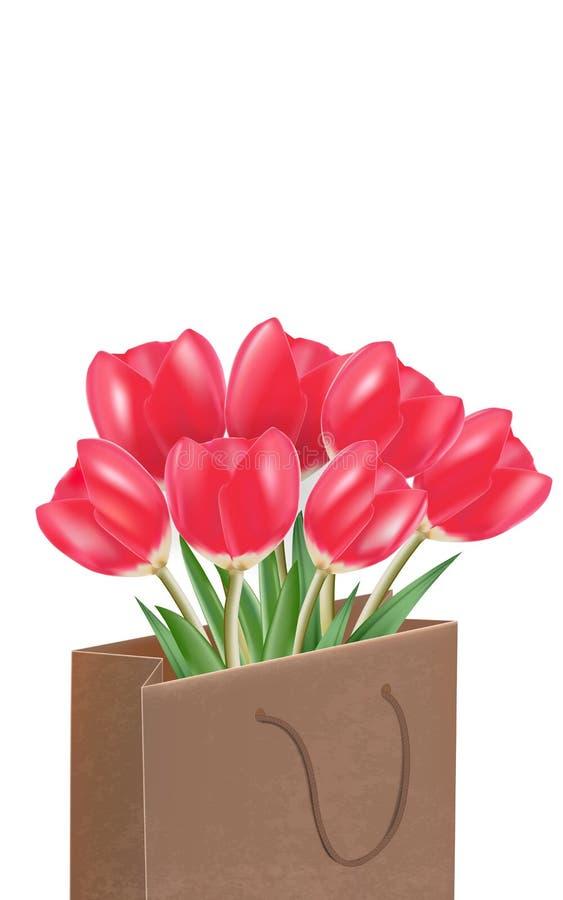 Czerwoni tulipany w papierowej torbie, wektor odizolowywający w białym tle royalty ilustracja