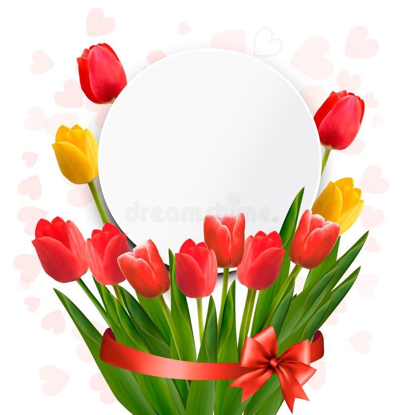Czerwoni tulipany z Szczęśliwą matka dnia notatką ilustracji