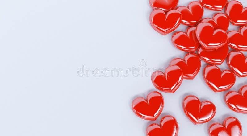 Czerwoni valentine serca odizolowywający na białym tle ilustracja wektor
