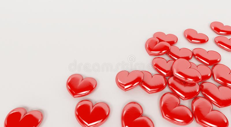 Czerwoni valentine serca odizolowywający na białym tle ilustracji