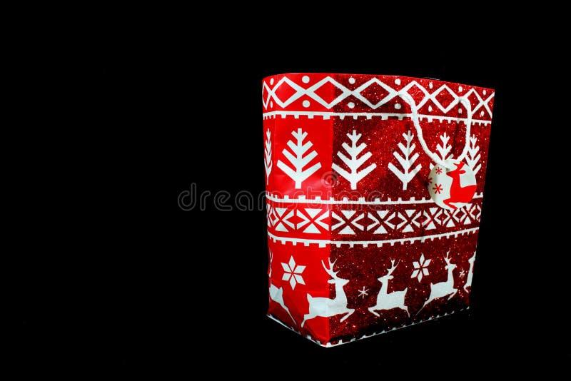 Czerwoni Wakacyjnego prezenta torby boże narodzenia zdjęcia stock