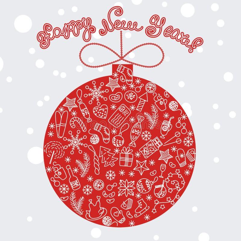 Czerwoni wesoło boże narodzenia balowi z uroczystymi elementami ilustracji