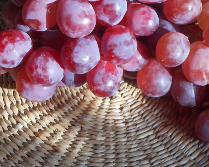 czerwoni winogrona na łozinowej tacy obraz stock
