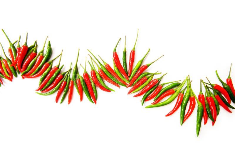 czerwoni zieleni chili pieprze obraz stock