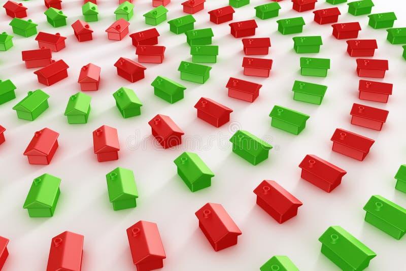 czerwoni zieleni okregów domy ilustracja wektor