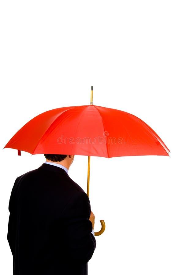 czerwono umbrells człowieku obraz stock