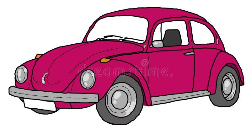 Czerwony ścigi kreskowej sztuki retro samochód royalty ilustracja