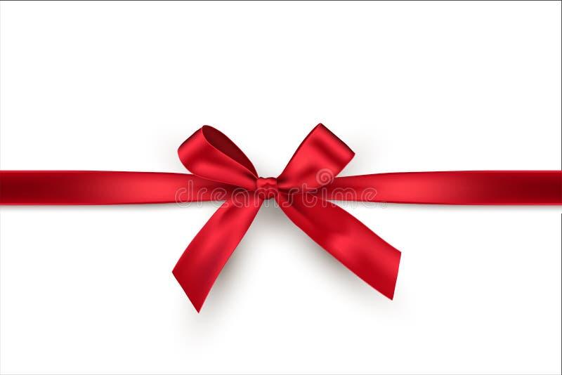 Czerwony łęk i horyzontalny faborek odizolowywający na białym tle Wektorowy dekoracyjny czerwony łęk royalty ilustracja