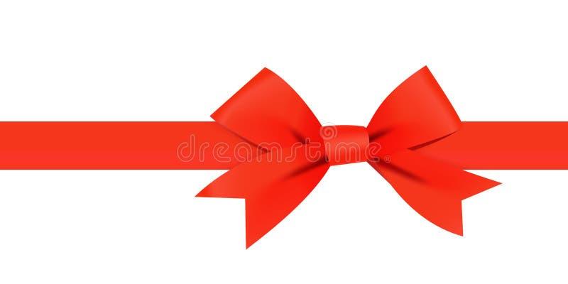 Czerwony łęk z horyzontalnym czerwonym faborkiem royalty ilustracja