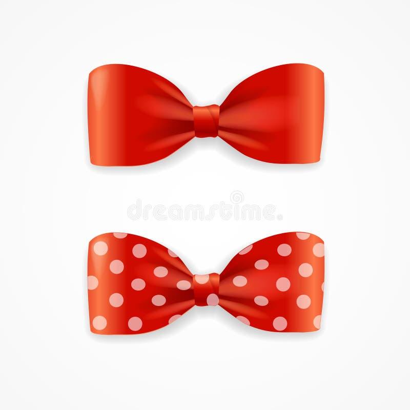 Czerwony łęku krawata set wektor ilustracji