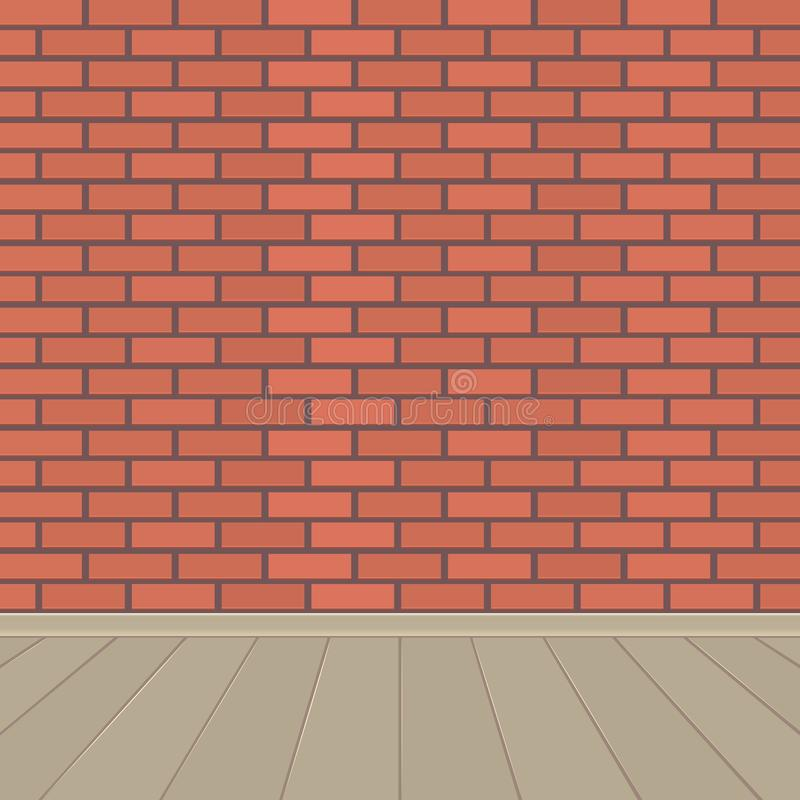 Czerwony ściana z cegieł i drewniana podłoga ilustracji