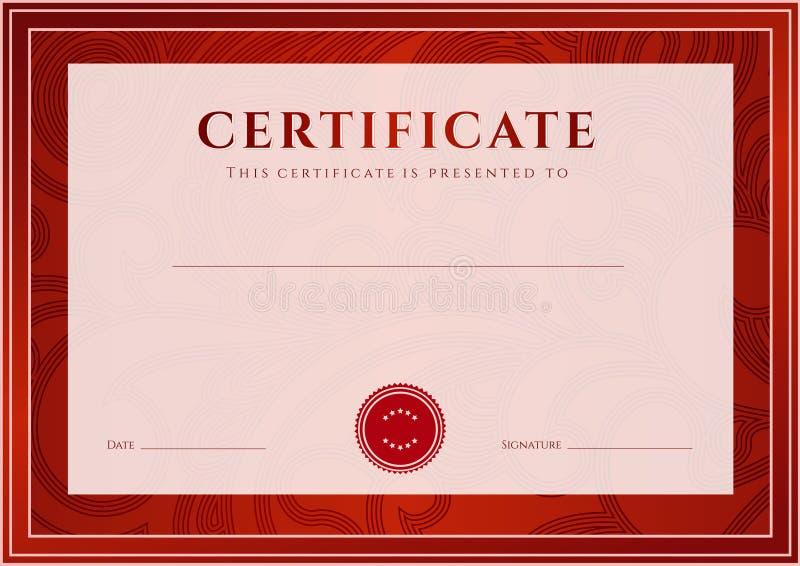 Czerwony świadectwo, dyplomu szablon. Nagroda wzór royalty ilustracja