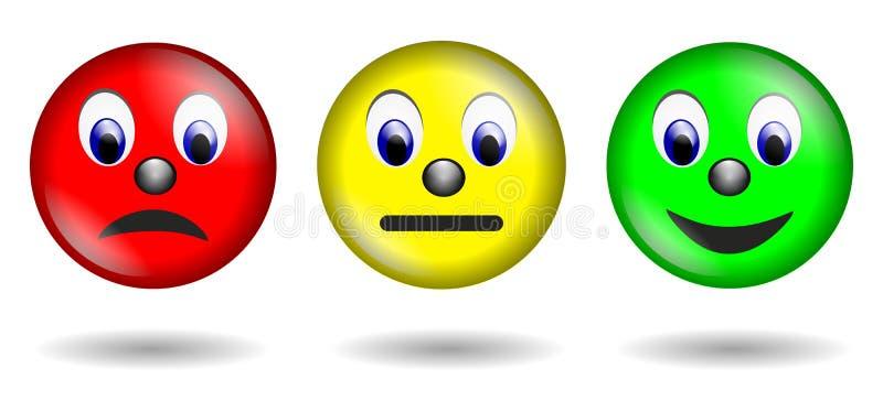 Czerwony żółtej zieleni smiley odizolowywający ilustracji