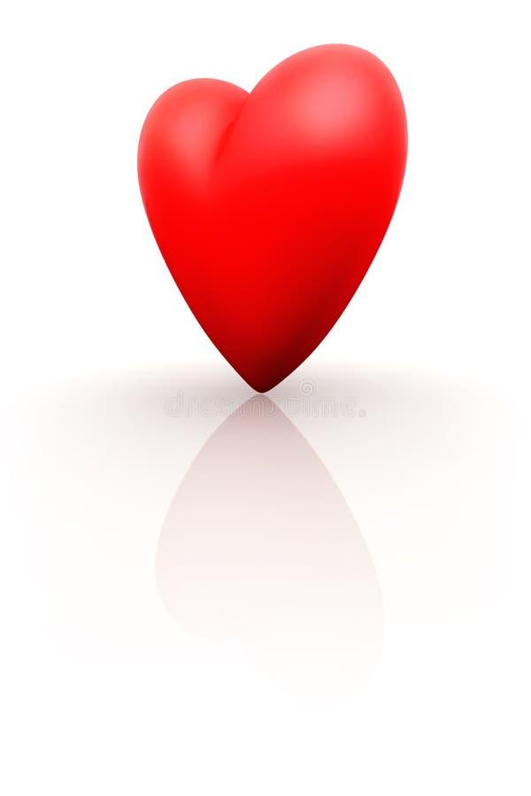 czerwony 3 d serca royalty ilustracja