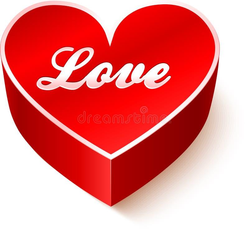 Czerwony 3D serce z szyldową miłością ilustracji