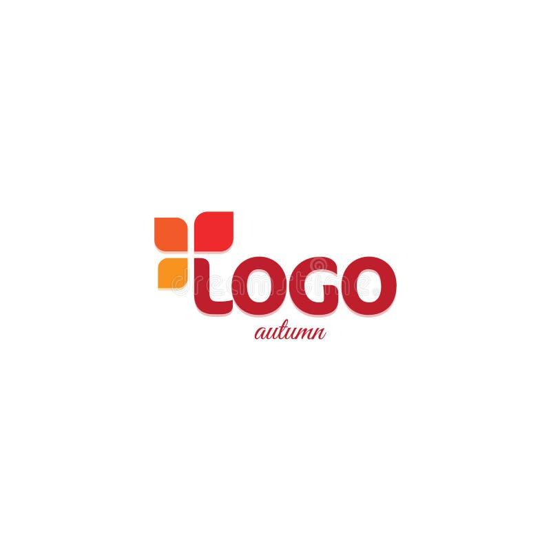 Czerwony abstrakcjonistyczny logo Jesień koloru liście symbolizuje życie Naturalnego produktu wektoru ilustracja Wzrostowy biznes ilustracji
