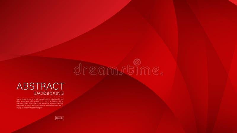 Czerwony abstrakcjonistyczny tło, fala, Geometryczny wektor, grafika, Minimalna tekstura, okładkowy projekt, ulotka szablon, sz ilustracja wektor