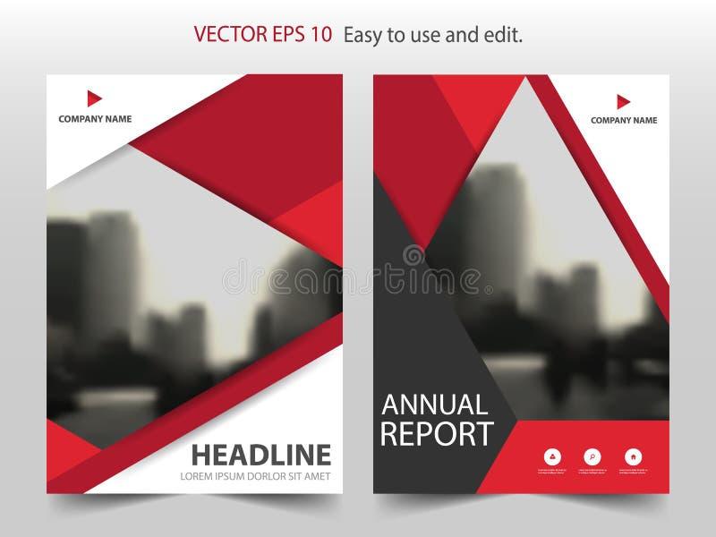 Czerwony abstrakcjonistyczny trójbok broszurki sprawozdania rocznego projekta szablonu wektor Biznesowych ulotek magazynu infogra royalty ilustracja