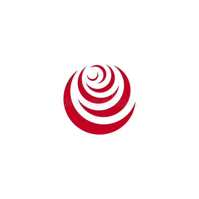Czerwony abstrakt wzrastał, wektorowy loga szablon na białym tle Elegancka kwiat ilustracja, kółkowy kształt, łuku projekt ilustracja wektor