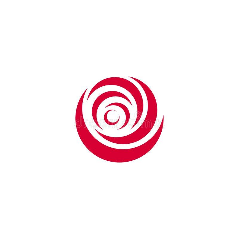 Czerwony abstrakt wzrastał, wektorowy loga szablon na białym tle Elegancka kwiat ilustracja, kółkowy kształt, łuku projekt ilustracji