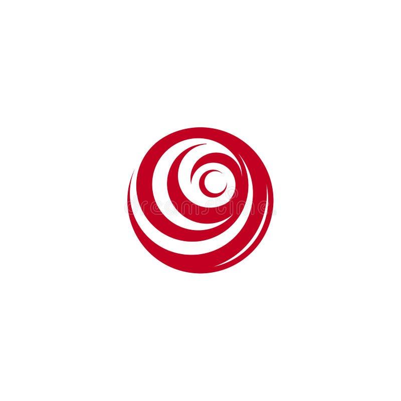 Czerwony abstrakt wzrastał, wektorowy loga szablon na białym tle Elegancka kwiat ilustracja, kółkowy kształt, łuku projekt royalty ilustracja