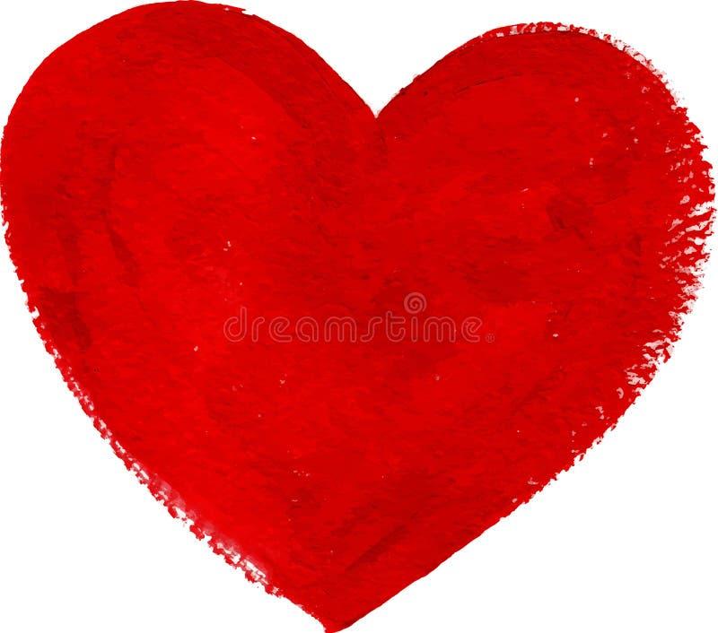 Czerwony akrylowy kolor textured malującego serce ilustracja wektor