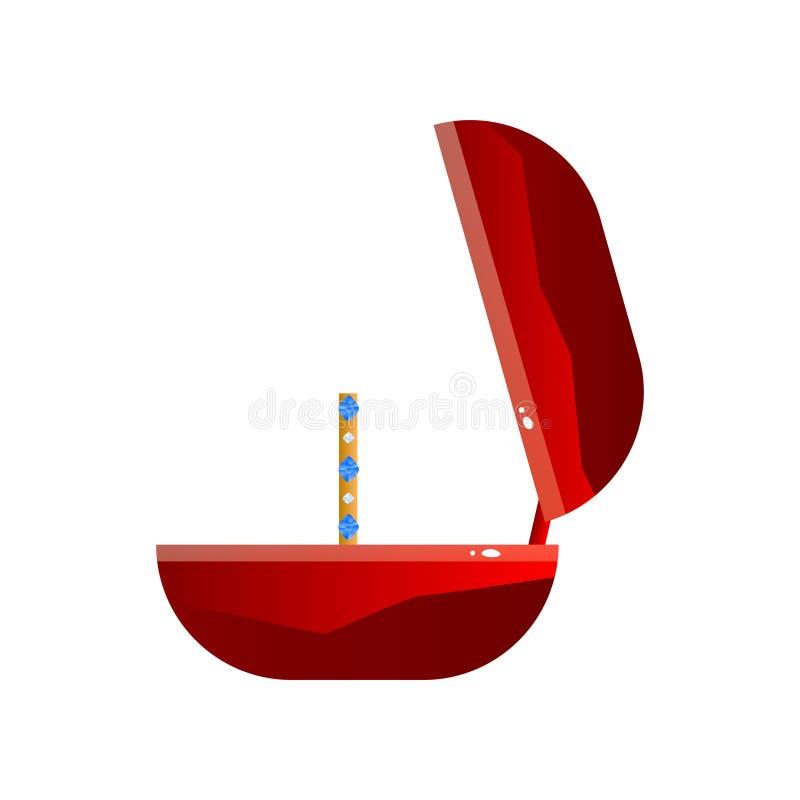 Czerwony aksamit Otwierający prezenta pudełko i pierścionek z Cennymi kamieniami, biżuterii skrzynka, Bocznego widoku wektoru ilu ilustracja wektor