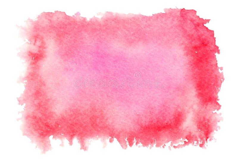 Czerwony akwareli pluśnięcie odizolowywający na białym tle Ręka rysujący obraz zdjęcia stock