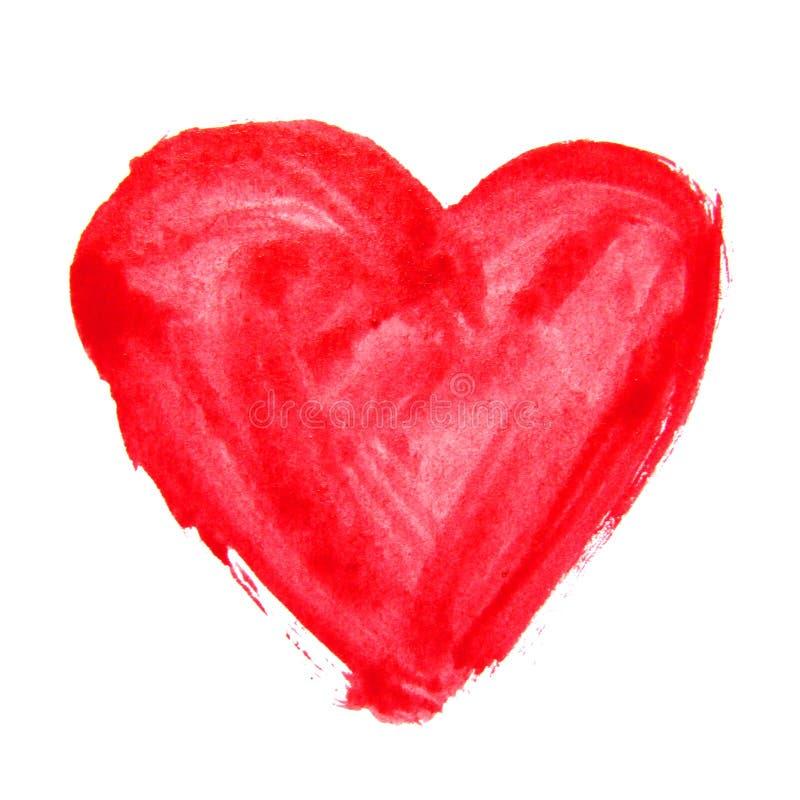 Czerwony akwareli serce na białym tle fotografia stock
