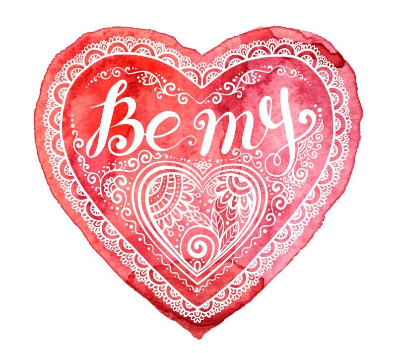 Czerwony akwareli serce z ręka rysującym literowaniem Był mój sercem w doodle stylu royalty ilustracja