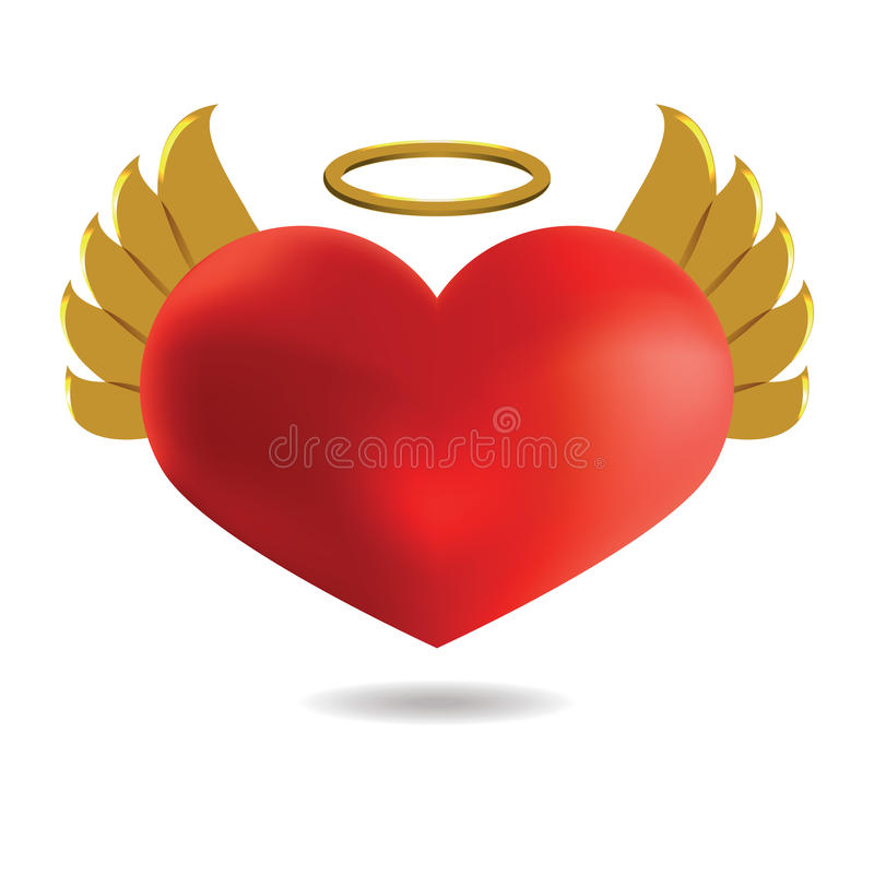 Czerwony anioła serce z Złotymi skrzydłami i halo, Na Białym b ilustracja wektor