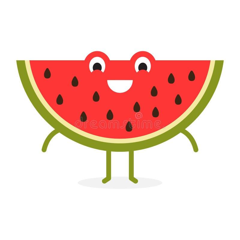 Czerwony arbuz, Śliczny owocowy charakter ilustracja wektor
