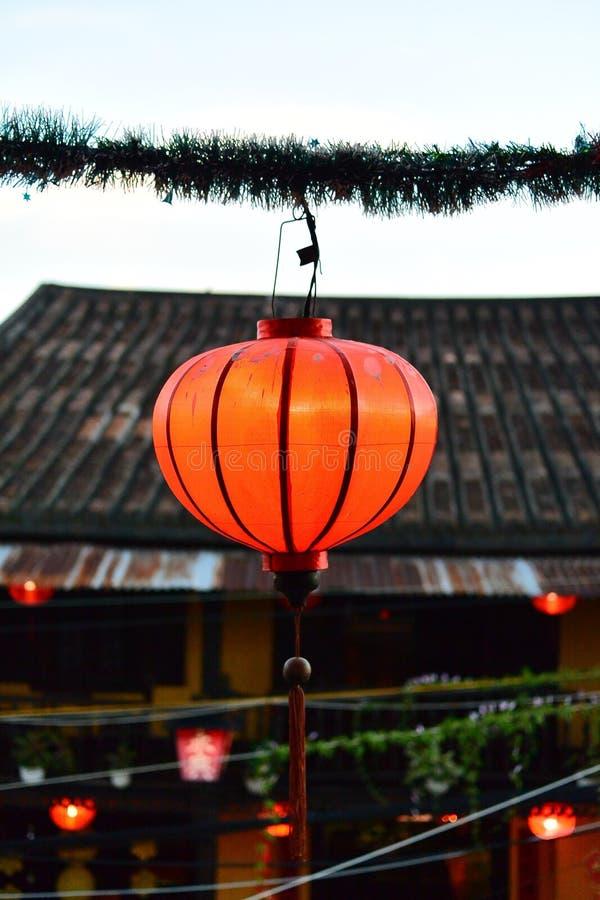 Czerwony autentyczny lampion obrazy stock