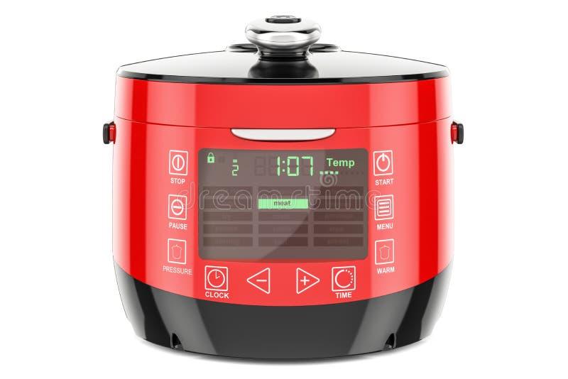 Czerwony Automatyczny Multicooker, 3D rendering royalty ilustracja