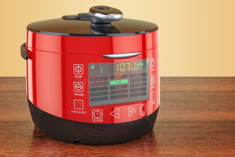 Czerwony Automatyczny Multicooker na drewnianym stole świadczenia 3 d ilustracji