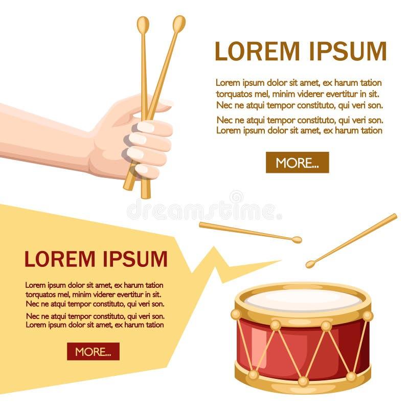 Czerwony bęben i drewniani bębenów kije Ręka chwyta drumsticks Instrument muzyczny, bęben maszyna P?aska ilustracja na bielu royalty ilustracja