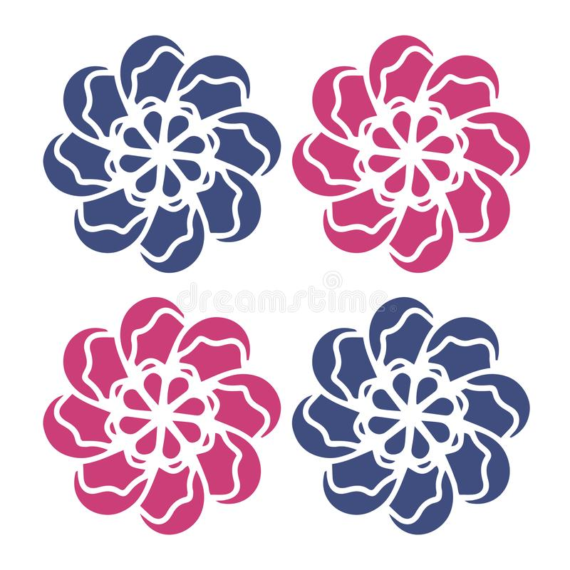 Czerwony błękit Kwitnie wektor Dobry dla logo, graficzny projekt, wzory, ikony, ślubny szablon, organicznie pojęcie, t koszula, d ilustracja wektor