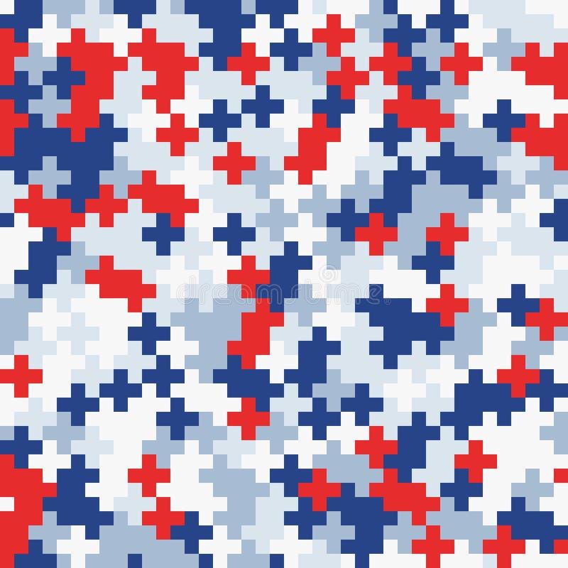 Czerwony błękitny biały przypadkowy barwiony abstrakcjonistyczny geometryczny mozaika wzoru tło ilustracji