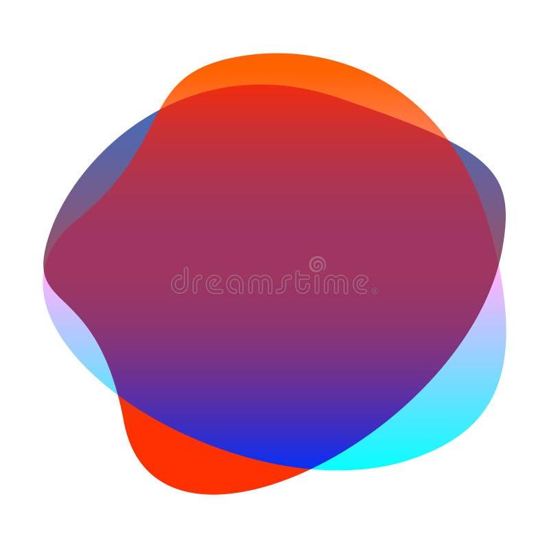 Czerwony błękitny gradientowy kolor kropli kształt dla tła, kropli prostego, ciekłego plamy muśnięcia płaska kropla dla etykietki royalty ilustracja