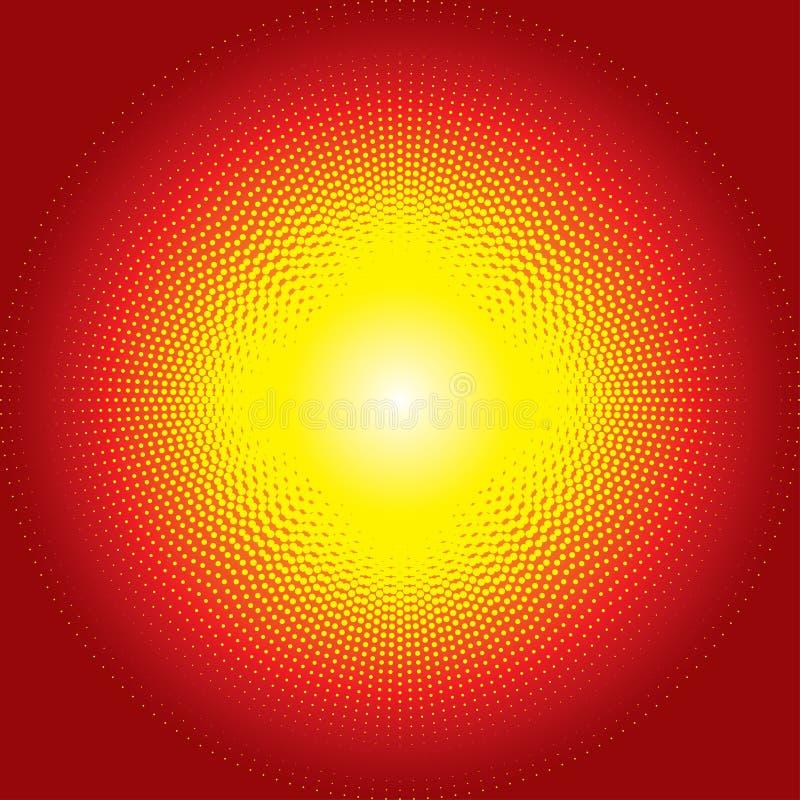 Czerwony błyszczący starburst halftone tło royalty ilustracja